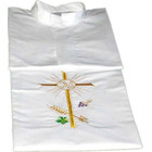 Alba white Cross, JHS, ears of wheat and grapes embroidered
