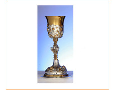 Chalice of silver with reliefs, golden