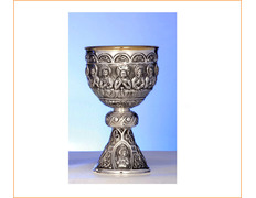 Chalice of silver with the Last Supper embossed