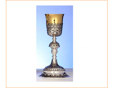Chalice of silver baroque with golden cup
