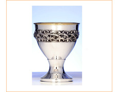 Chalice of silver with a crown of thorns, embossed