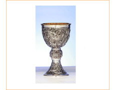 Chalice of silver with grapes in relief