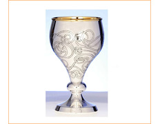 Chalice of silver, smooth with details chiseled