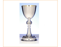 Chalice of silver's smooth with fish carved