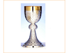 Chalice of silver, with chiseled linear