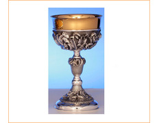 Cup of silver decorated with liturgical elements