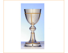 Chalice of silver's smooth with decoration of golden lines
