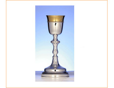 Chalice of silver, smooth top with golden