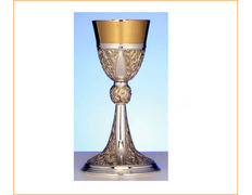 Chalice of silver with gilded elements in relief