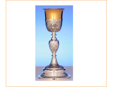 Chalice of silver with seashells engraved