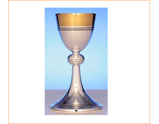 Chalice of silver, smooth with lines engraved