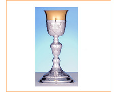 Chalice of silver with a chiseled simple