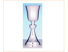 Chalice of silver's smooth with 21 cm of height