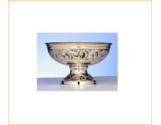 Paten of silver, chiselled and embossed