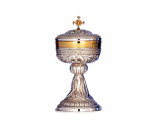 Ciborium sterling silver with liturgical elements in relief