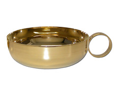 Chalice paten with handle and gold-plated