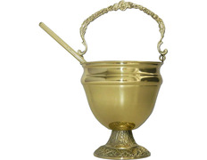 Acetre with golden base chiseled - 17,5 cm height