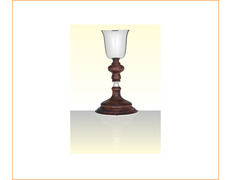 Chalice of silver with a loop and a wooden base