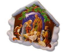 Bethlehem with the Holy Family and shepherds worshiping