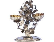 Benditera of silver for holy water with foot