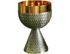 Chalice in metal chiselled with gold-plated