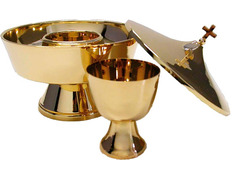 Ciborium two species of gold-plated metal bathroom gold tone