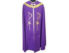 A cape with a Cross embroidered in gold thread purple