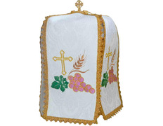 Cover ciborium embroidered with liturgical elements