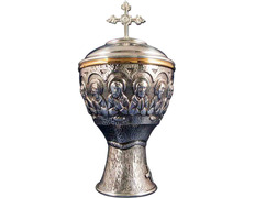 Chalice of the Last Supper in bronze with silver bath