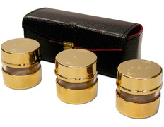 Crismeras golden with leather case with inner red satin