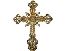 Cross in bronze with INRI and liturgical elements