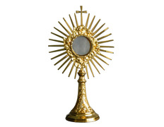 Child custody in golden metal with rays and Cross