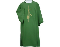 The dalmatic of polyester with Cross and ears embroidered white