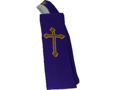 Stole with Cross embroidered | Four colors purple