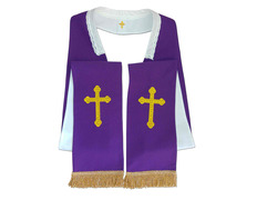 White stole-purple reversible with Cross embroidered