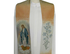 Stole marian with the Miraculous Virgin mary embroidered