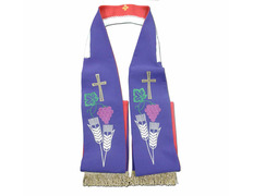 Stolon reversible with Cross of Jerusalem in red / purple