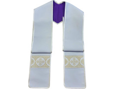 Purple and cream clergy stole