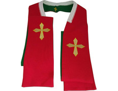 Stole reversible with Cross embroidered - Four liturgical colors red / green