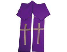 Stolon with a golden Cross embroidered purple