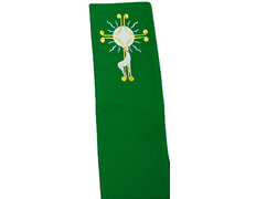 Stolon of polyester with the lamb embroidered green