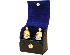 Couple of crismeras gold plated with case