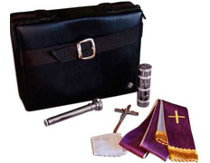 Case for carrying Sacraments in faux fur