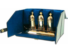 Three crismeras gold plated with stand