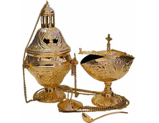 Censer, naveta and teaspoon gold plated