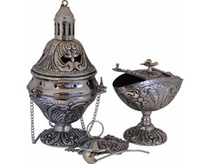 Censer, naveta and spoon with bath silver