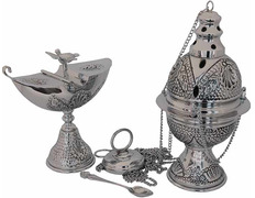Censer with naveta and spoon manufactured in cast silver