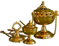 Bronze incense burner with naveta and spoon