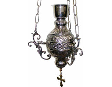 Lamp for hanging with red glass silver