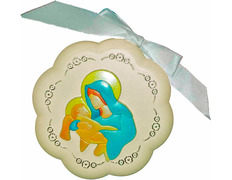 Medal of cradle - Virgin with Child Jesus cream